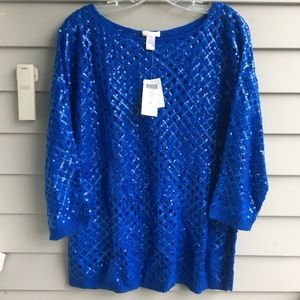 CHICO'S Sash Sequin Pull-over Sweater (3) XL NWT